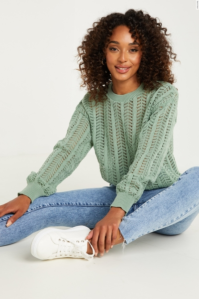 Sage Knitted Long Sleeve Jumper